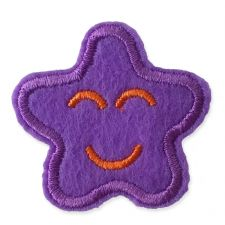 PURPLE SMILING STAR MOTIF IRON ON EMBROIDERED PATCH APPLIQUE